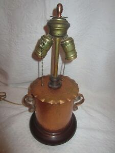 Arts And Crafts Hammered Copper Lamp With Copper Finial 1950 S
