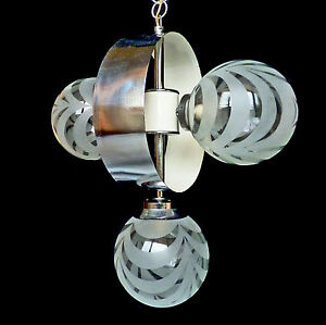 Vintage Mid Century Italian Chrome Atomic Space Age Sputnik Orbit Chandelier
