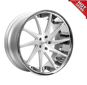 4 new 22 Staggered Azad Wheels Az23 Silver Machined With Chrome Lip Special