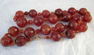 Antique Chinese Carnelian Bead Necklace Nanhong Agate Hand Carved 14k Gold Clasp