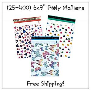 25 400 Pack 6x9 Variety Pack Designer Poly Mailers free Shipping