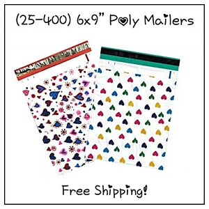 25 400 Pack 6x9 Mixed Hearts Designer Poly Mailers free Shipping