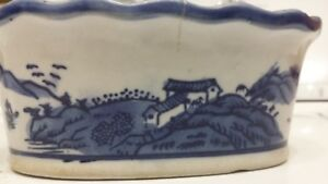 Antique 18 C Chinese Porcelain 6 Blue White Planter Vase Brush Pot Cachepot
