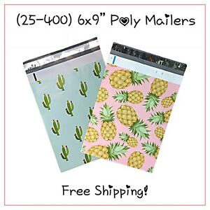 25 400 Pack 6x9 Mix Pineapple cactus Designer Poly Mailers free Shipping