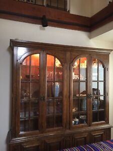 Drexel China Cabinet Hutch Base Storage In Base All Wood With Glass Shelves