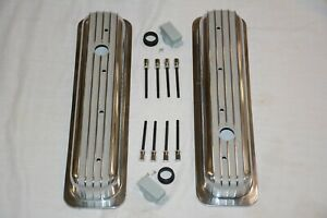 Small Block Chevy Short Polished Finned Center Bolt Valve Covers Vortec Tbi 350