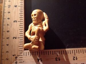 Vtg Antique Skeleton Netsuke Wood