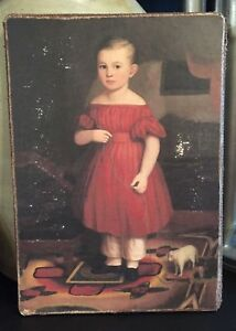 Antique Reproduction Primitive Girl In Red Dress Pull Toy Print On Canvas Board