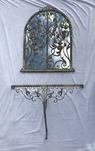 Italy Vintage Wrought Iron Hollywood Regency Gate Mirror Console Florentine