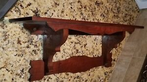 Beautiful Wood Walnut Wall Shelf Clock Antique Solid Nice