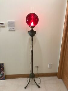 Antique Twisted Brass Legs Piano Organ Floor Lamp Ruby Red Glass Shade Electric