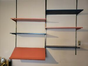 Mid Century Orange Teal Shelving Wall Unit