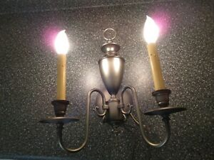 Pair Of Vintage Moe Pewter Color Colonial Style 2 Light Electric Wall Sconces