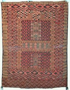 Antique Turkmen Tekke Ensi Hatchli Prayer Rug Central Asia N12
