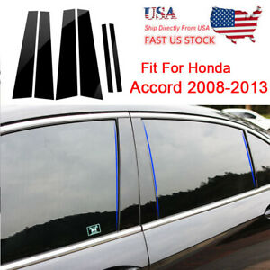 6pc Black Pillar Posts Set Door Trim Piano Cover Kit For Honda Accord 2008 13 Us