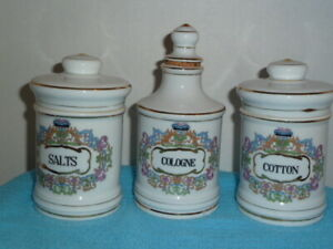 3 Vintage Porcelain Apothecary Barber Shop Vanity Jars Cologne Salts Cotton