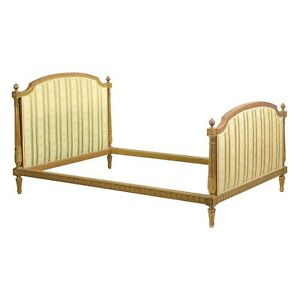 Antique French Bed Frame Neoclassical Louis Xvi Style Carved Giltwood C 1900