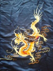 Antique Silk Chinese Wedding Sheet Embroidered Tapestry Dark Blue W Dragons