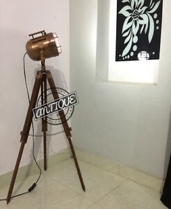 Industrial Light House Floor Lamp Electric Wooden Stand Painting Focus Lightings