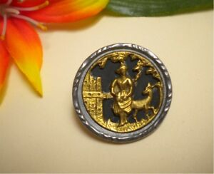 Antique Victorian Red Riding Hood Wolf Pierced Gilt Metal Overlay Picture Button