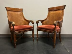 Drexel Heritage Rattan Bamboo Club Chairs Pair