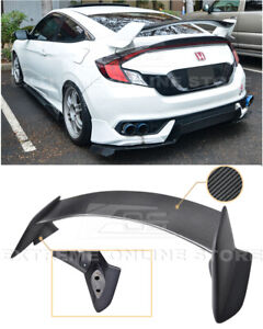 For 16 Up Honda Civic Coupe Type R Style Carbon Fiber Rear Trunk Lip Spoiler