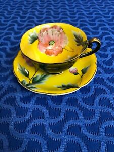 Royal Sealy Japan Bone China Hand Painted Pink Yellow Floral Cup Saucer