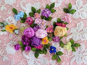 Handmade Silk Ribbon Work Flower Spray Antique French Ribbon