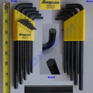 New Snap On 13 Pcs L shape Hex End Extra Long Wrench Set Awxl13 Yellow Usa