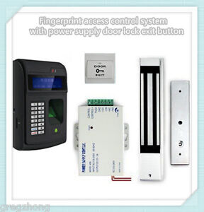 Fingerprint Access Control System With Power Supply Door Lock Exit Button