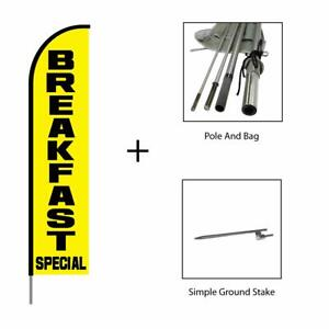 Breakfast Special Feather Flag Swooper Banner Pole Kit Restaurant Sign 15ft