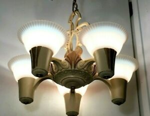 Antique Art Deco Slip Shade Chandelier 1920s Old Vtg 5 Light Fixture Opalescent