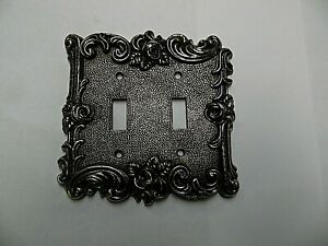 Vintage American Tack Hardware Decorative Brass 2 Gang Switch Plate From 1967
