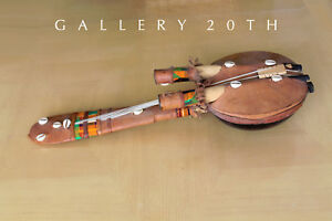 Sweet Vtg Mid Century Leather Tiki Handmade Decorative Ukelele Guitar Art 50 S