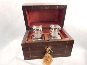 Eyecatching French 2 Antique Perfume Bottles In Wood Chest L K Big Cut