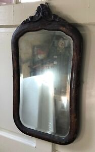 Vintage Wood Wall Mirror Art Nouveau Victorian Heavy Mirror Damage
