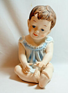 Vintage Piano Baby Babies Figurine Handpainted Porcelain Bisque Germany Sweet