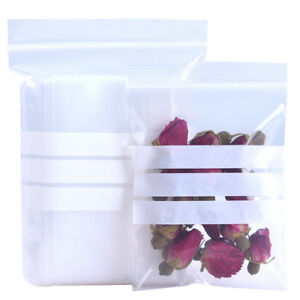 Flat Zip Lock Bags Plastic Packaging Writable Reclosable Poly Food Grade Pouches