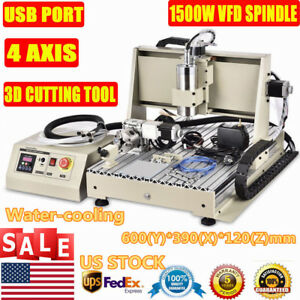 4 Axis Usb Router 6040 Engraver Machine Mill Metal Woodworking 3d Carve1500w