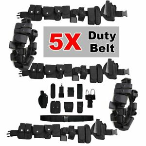5pcs Police Utility Belt W Pouches Accessories Security Officer Law Enforcement