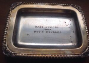 Antique Vintage English Silver Plate Gallery Tray Small