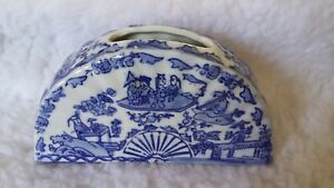 Antique Chinese Porcelain Blue White Vase Jardiniere Brush Pot Jar Fan