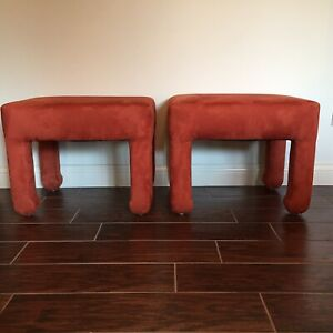 Vintage Pair Upholstered Parsons Benches Stools Decorator Mcm Hollywood Regency