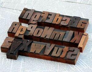A z Mix Alphabet 2 13 Letterpress Wooden Printing Blocks Wood Type Font Vintage