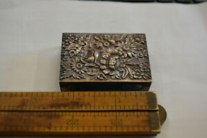 S Kirk Son Repousse Sterling Silver Ornate Match Safe Box Holder 24 Antique