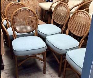 Vintage Rattan Cane 6 Chairs Wicker Bamboo