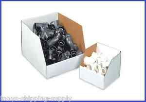25 Pack Jumbo White Corrugated Open Top Storage Bin Boxes 8 Sizes Available