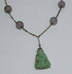 Antique Chinese Silver Necklace Carved Jadeite Jade Buddha Amethyst Shou Beads