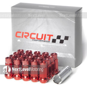 Circuit Performance Cp50 Extended Open End Lug Nut 12x1 5 Red Fit Chevy Cadillac