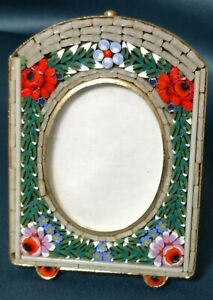 Antique Italian Micro Mosaic Floral Picture Frame Small Brass